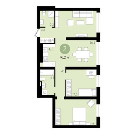Вариант №3638, 3-комнатная квартира в жилом комплексе