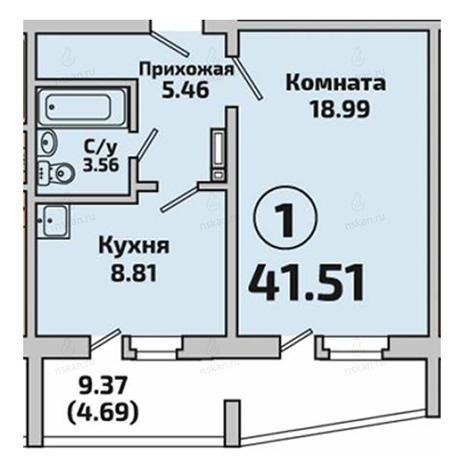 Вариант №2839, 1-комнатная квартира в жилом комплексе