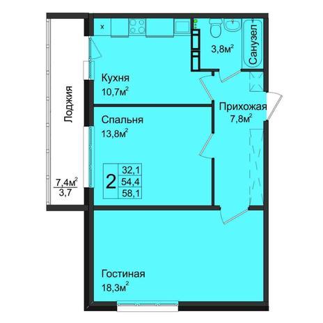 Вариант №5032, 2-комнатная квартира в жилом комплексе Аквамарин