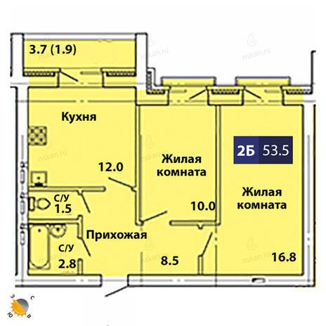 Вариант №1832, 2-комнатная квартира в жилом комплексе