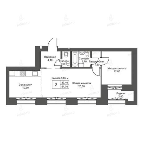 Вариант №2758, 2-комнатная квартира в жилом комплексе