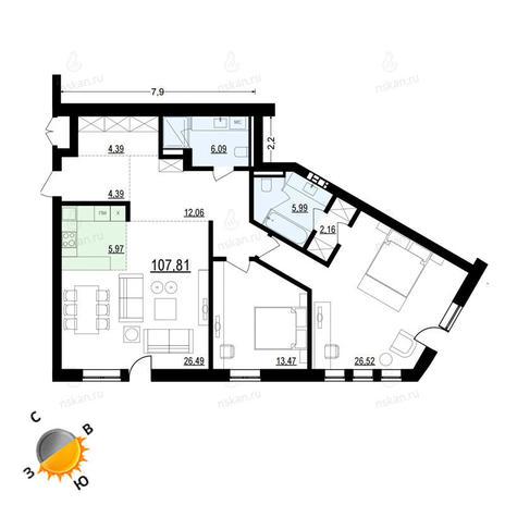Вариант №907, 3-комнатная квартира в жилом комплексе Жуковка