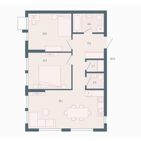 Вариант №5918, 2-комнатная квартира в жилом комплексе