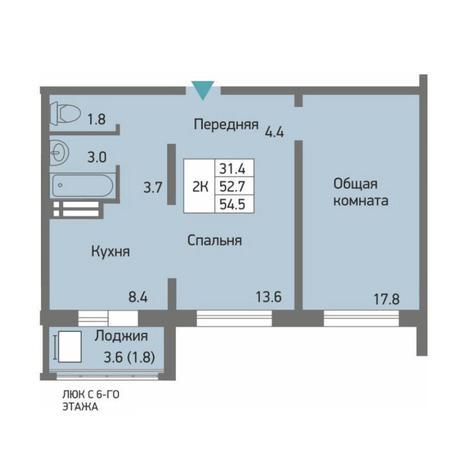 Вариант №4506, 2-комнатная квартира в жилом комплексе Акварельный 3.0