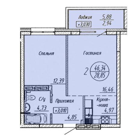 Вариант №3211, 2-комнатная квартира в жилом комплексе Облака