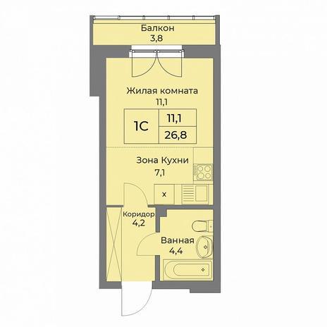 Вариант №5278, 1-комнатная квартира в жилом комплексе