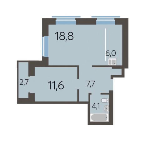 Вариант №5775, 2-комнатная квартира в жилом комплексе