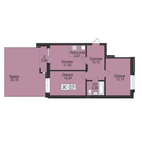 Вариант №5063, 3-комнатная квартира в жилом комплексе Цивилизация