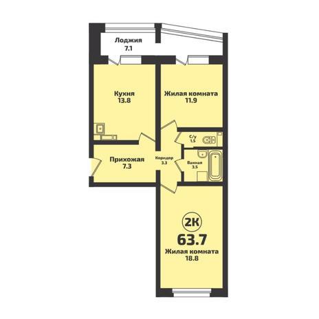 Вариант №4952, 2-комнатная квартира в жилом комплексе Галактика