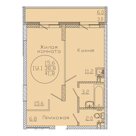 Вариант №3375, 1-комнатная квартира в жилом комплексе
