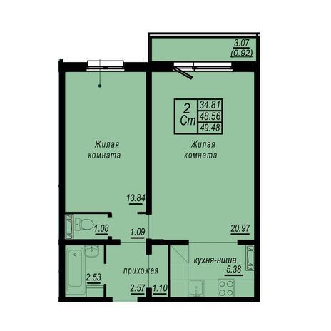 Вариант №4938, 2-комнатная квартира в жилом комплексе
