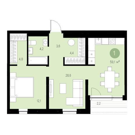 Вариант №4709, 2-комнатная квартира в жилом комплексе Европейский Берег