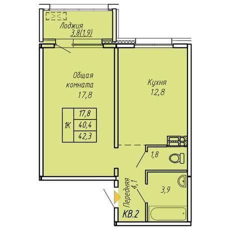 Вариант №6074, 1-комнатная квартира в жилом комплексе