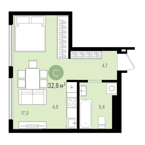 Вариант №5508, 1-комнатная квартира в жилом комплексе