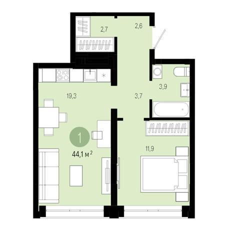Вариант №4820, 2-комнатная квартира в жилом комплексе Спектр