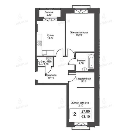 Вариант №2729, 2-комнатная квартира в жилом комплексе Эволюция