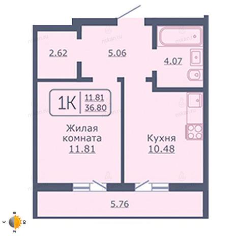 Вариант №2033, 1-комнатная квартира в жилом комплексе