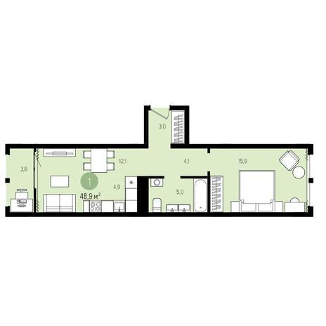 Вариант №4965, 2-комнатная квартира в жилом комплексе Пшеница