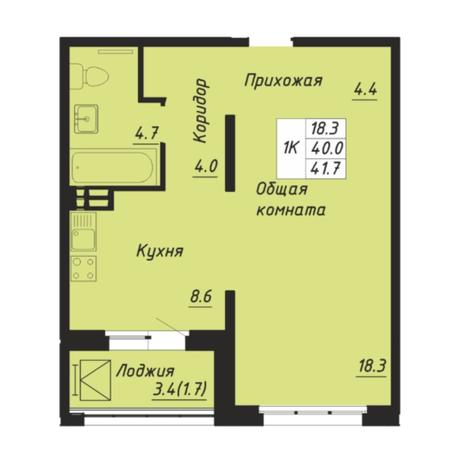 Вариант №5252, 1-комнатная квартира в жилом комплексе