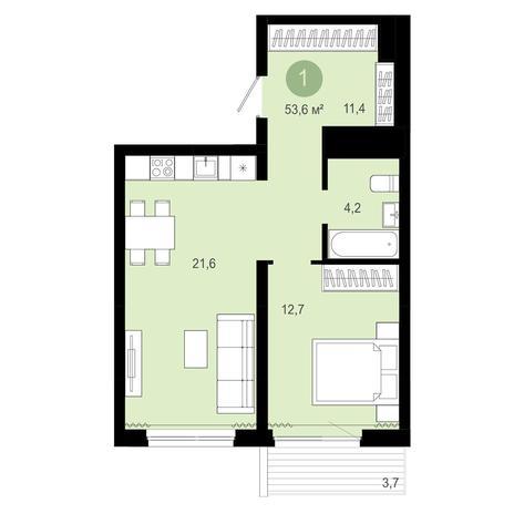 Вариант №4081, 2-комнатная квартира в жилом комплексе Эволюция
