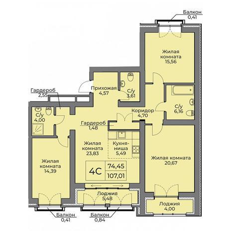 Вариант №3555, 4-комнатная квартира в жилом комплексе