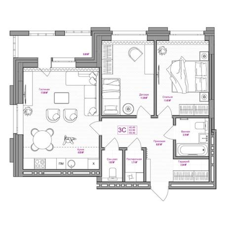 Вариант №6657, 3-комнатная квартира в жилом комплексе