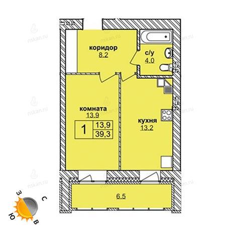 Вариант №1585, 2-комнатная квартира в жилом комплексе Северная корона