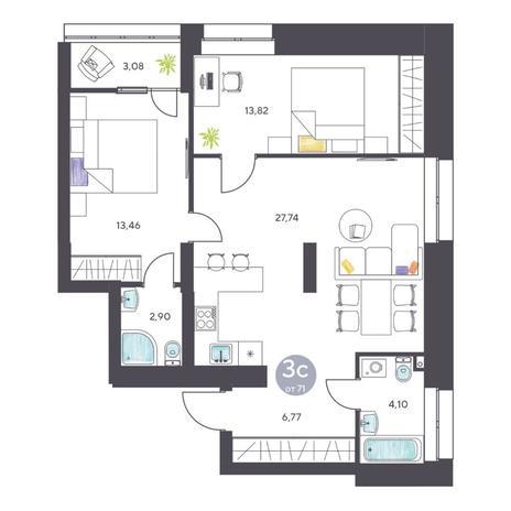 Вариант №5127, 3-комнатная квартира в жилом комплексе Ясный берег