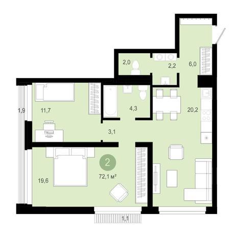 Вариант №4579, 3-комнатная квартира в жилом комплексе