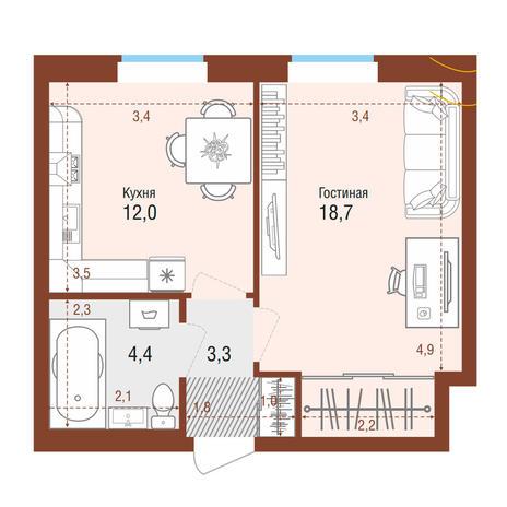 Вариант №4199, 1-комнатная квартира в жилом комплексе Акварельный 3.0