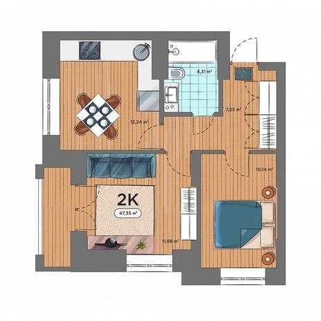 Вариант №5161, 2-комнатная квартира в жилом комплексе Ясный берег
