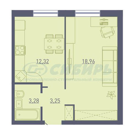 Вариант №3734, 1-комнатная квартира в жилом комплексе Акварельный 3.0