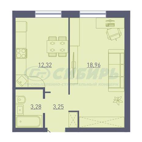 Вариант №3734, 1-комнатная квартира в жилом комплексе
