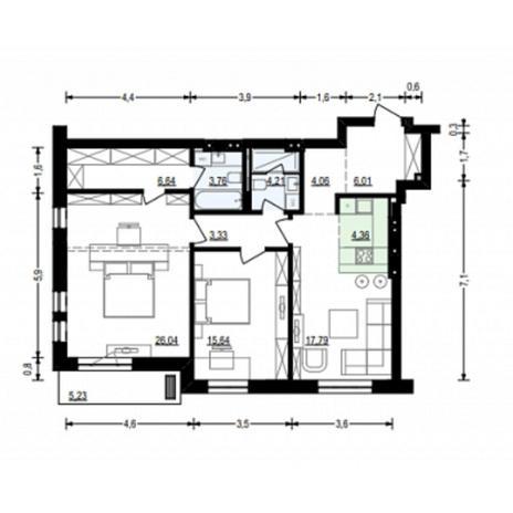 Вариант №4911, 3-комнатная квартира в жилом комплексе