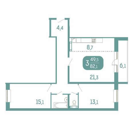 Вариант №2908, 3-комнатная квартира в жилом комплексе Аквамарин