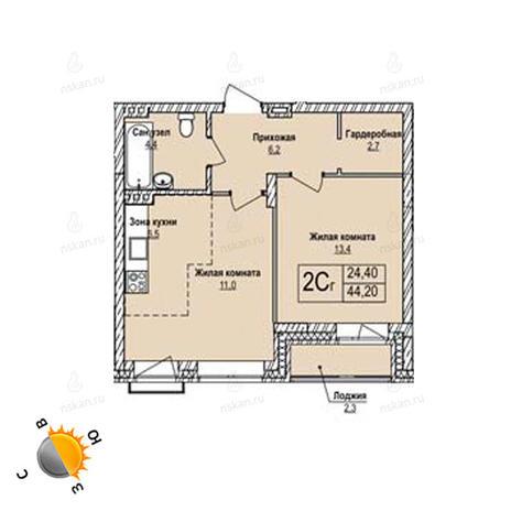 Вариант №1251, 2-комнатная квартира в жилом комплексе Эволюция