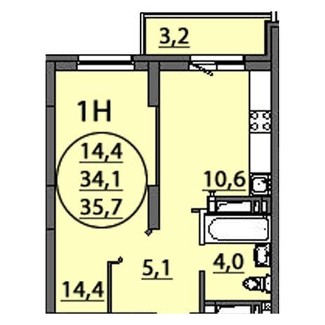 Вариант №2506, 1-комнатная квартира в жилом комплексе