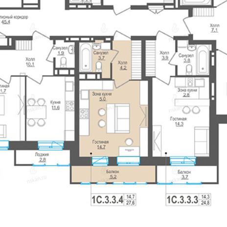 Вариант №843, 1-комнатная квартира в жилом комплексе Пифагор