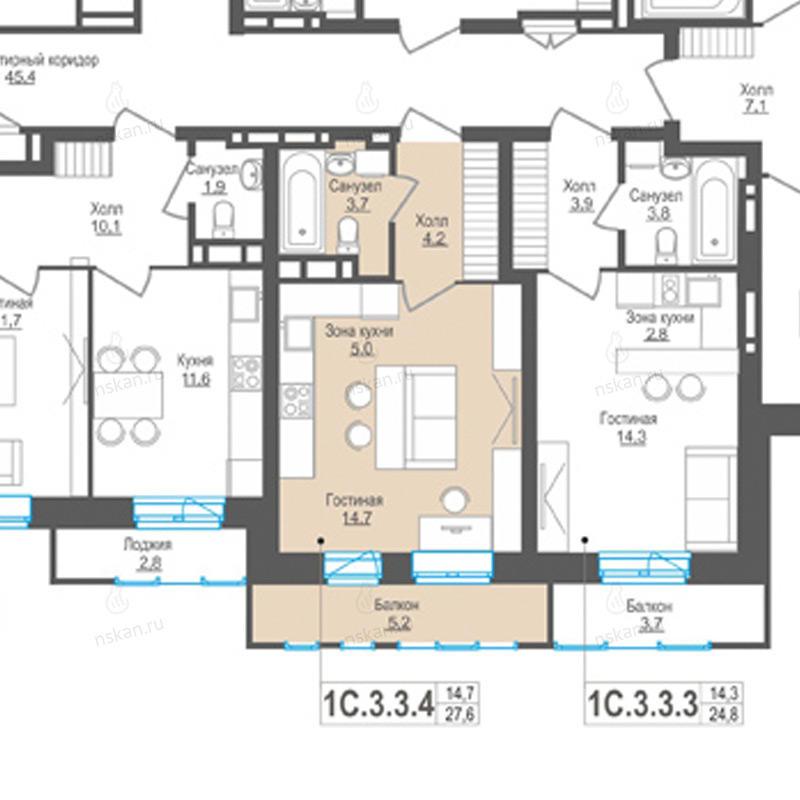 Планировка 1-комн. студия площадью 27.6 м<sup>2</sup> в ЖК Пифагор
