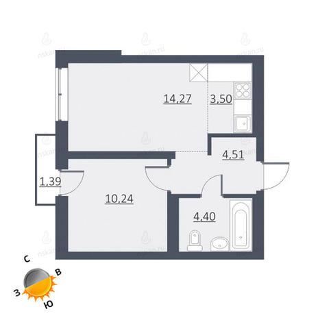 Вариант №1629, 2-комнатная квартира в жилом комплексе