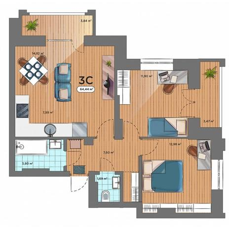 Вариант №5170, 3-комнатная квартира в жилом комплексе Пшеница