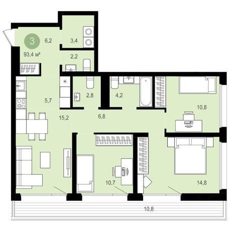 Вариант №4153, 4-комнатная квартира в жилом комплексе Авиатор