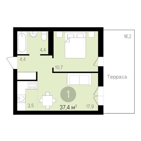 Вариант №3466, 1-комнатная квартира в жилом комплексе