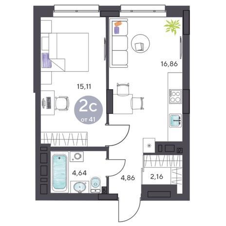 Вариант №5412, 2-комнатная квартира в жилом комплексе Ясный берег