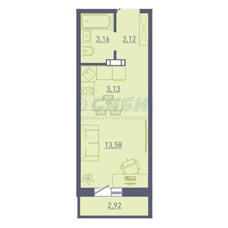 Вариант №3742, 1-комнатная квартира в жилом комплексе Радуга Сибири