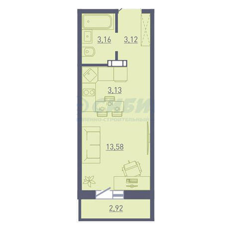 Вариант №3742, 1-комнатная квартира в жилом комплексе