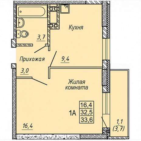 Вариант №5318, 1-комнатная квартира в жилом комплексе