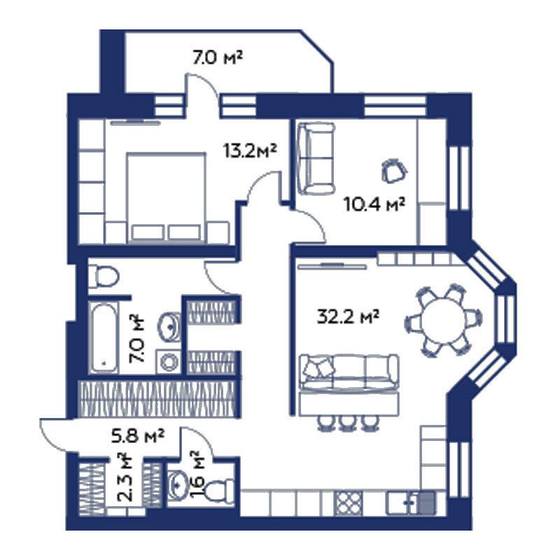 Планировка 3-комн. студия площадью 79.5 м<sup>2</sup> в ЖК Montblanc