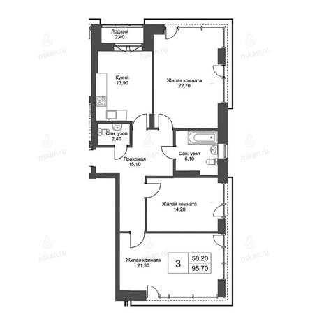 Вариант №2739, 3-комнатная квартира в жилом комплексе