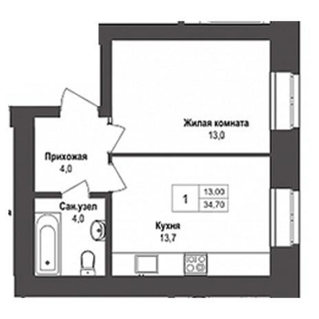 Вариант №3133, 1-комнатная квартира в жилом комплексе